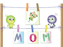 Mothers day ,two birds Stock Photos