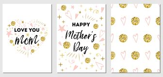 Mothers Day vector greeting banner set Text love you mom. Romantic heart glitter shape background. Mothers Day vector greeting card set Romantic abstract hand vector illustration