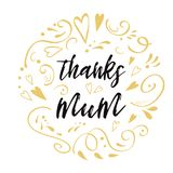 Mothers Day vector greeting card. Text thanks mum. Romantic abstract hand drawn ornament card banner prin. Mothers Day vector greeting card. Romantic abstract Royalty Free Stock Image