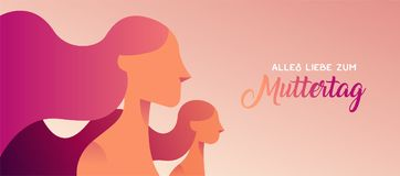 Happy mother day german banner for daughter love. Mothers Day web banner in german language of mom and little girl on pink color background with typography quote Royalty Free Stock Photos