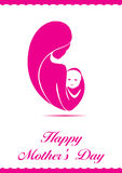 Mothers day. Wishes card with logo stock illustration