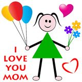Mothers day wishes from daughter. Concept and i love you mom greeting card Royalty Free Stock Image