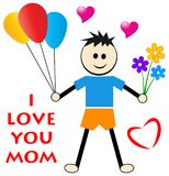 Mothers day wishes from son. Concept and i love you mom greeting card Stock Image