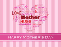Mothers Day Word Cloud Greeting Card. Happy Mothers Day Word Cloud in Heart Shape Silhouette on Pink Stripes Background Illustration Stock Image