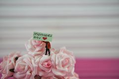 Mothers Day wording on a miniature sign placed in pink roses with space. Cute miniature person figurine holding a sign with the text Mothers Day and a love heart Royalty Free Stock Photography