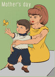 Mothers day. Young mother and little son. Retro cartoon illustration greeting card Stock Photos