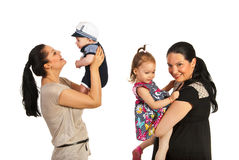 Mothers playing with their kids Stock Image