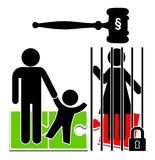 Mothers in Prison. Imprisonment of one parent entails the forcible separation of a child, who is suffering badly Stock Image