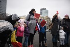 Mothers protest in Bucharest against government Royalty Free Stock Photography
