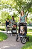 Mothers Pushing Baby Strollers In Park. Portrait of happy mother and friends pushing baby strollers in park Stock Photos