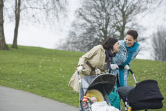 Mothers With Strollers In Park Royalty Free Stock Photos
