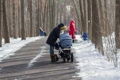 Mothers with strollers on a walk in the park in the winter. People Royalty Free Stock Photo