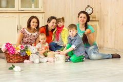 Mothers with their kids Stock Images