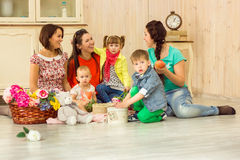 Mothers with their kids Royalty Free Stock Photos