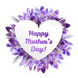 Mothers day greeting card with crocus flowers. Mothers woman day greeting card poster banner template  with purple violet saffron crocus flower frame and copy Royalty Free Stock Photography