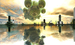 Mothership estrangeiro sobre a cidade futurista ilustração do vetor