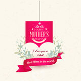 Счастливый ярлык дня Motherss иллюстрация штока