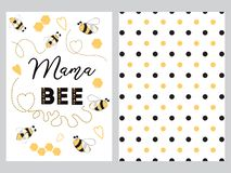 Mothes day banner design text Mama bee decorated bee heart honey sweet Plka Dot background set. Mothers day banner design set with text Mama bee with cute hand royalty free illustration