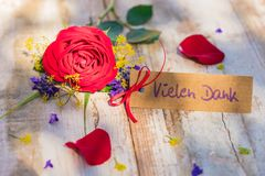 Mothes day greeting card with german word, Vielen Dank, means many thanks. Bunch of flowers and tag with german word, Vielen Dank, means many thanks royalty free stock image