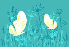 Moths and grass. Two moths in a wild grass. A silhouette vector illustration