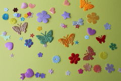 Moths Stars flowers on a yellow background spring summer applique. Jocundity fun gaiety royalty free stock photo