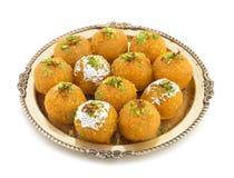 Motichoor Laddu. Indian Traditional Laddu Sweet Food Also Know as Motichoor Laddu Dessert on White Background stock images