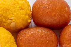 Motichoor Ladoo and Gulab Jamun. stock image
