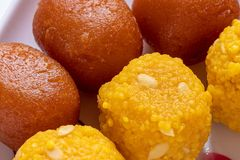 Motichoor Ladoo and Gulab Jamun. royalty free stock photo