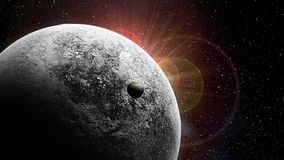 Motie grafisch van zon die achter planeten toenemen royalty-vrije illustratie