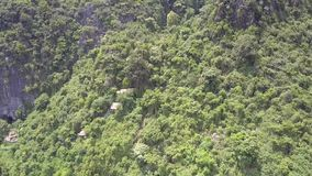 Motie langs berg met het oogmening die van de houtvogel wordt behandeld stock footage