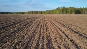 Motie over geploegd gebied met residu's op oppervlakte aan bos stock footage