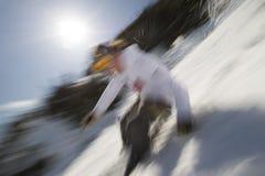 Motie vaag beeld van een deskundige skiër. Royalty-vrije Stock Afbeelding