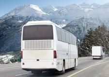 Motie vaag beeld van het drijven van bus stock foto's
