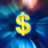 Motiegezoem aan gouden dollarteken, technologiewinst Stock Foto's