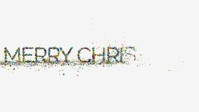 Motiegrafiek, geanimeerde Vrolijke Kerstmisuitdrukking, Nieuwjaar en Kerstmisconcept, fontein die geometrische voorwerpen verspre stock videobeelden