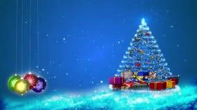 Motiegrafiek van sneeuwvlokken en Kerstmisdecoratie vector illustratie