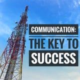 Motievencitaten van mededeling de sleutel tot succes stock foto's