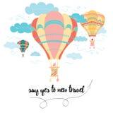 Motievenreiskaart met emotionele uitdrukking, hete luchtballon, wolken Stock Afbeeldingen