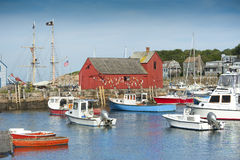 Motif #1. Fisherman's shack in Rockport harbor, massachusetts, USA royalty free stock images