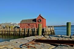 Motif #1 au port de Rockport dans le Massachusetts Images libres de droits