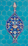 Motif on Blue Tiles. Blue arabesque design inside an old mosque in Yazd, Iran stock images