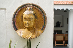 Motif de Bouddha dans les restaurants dans Pondicherry, Inde Photo libre de droits