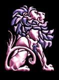 motif de lion de cru dans métallique Photographie stock libre de droits