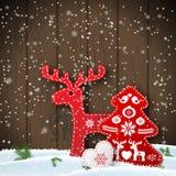 Motif de Noël dans les décorations folkloriques de style, rouges et blanches scandinaves devant le mur en bois, illustration Images stock