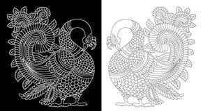 Motif de paon noir et blanc illustration libre de droits