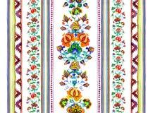 - Motif européen de broderie - frontière florale sans couture orientale avec les fleurs décoratives, rayures watercolor Photos stock