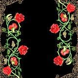 motif floral de cru des roses rouges Image stock
