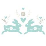 Motif folklorique avec des lapins Images libres de droits