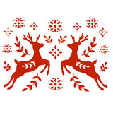 Motif folklorique traditionnel avec des cerfs communs Images stock