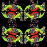 Motif lumineux et coloré ethnique, fond noir d'isolement Illustration Libre de Droits